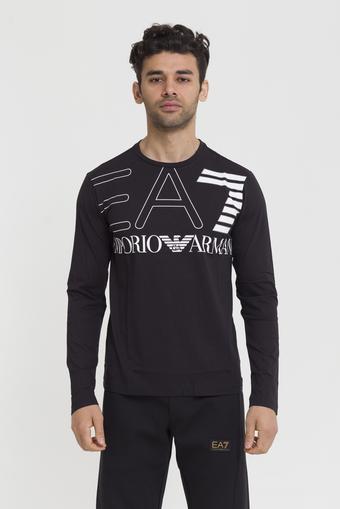 EA7 Maxi Logo Baskılı Uzun Kollu Erkek T-Shirt