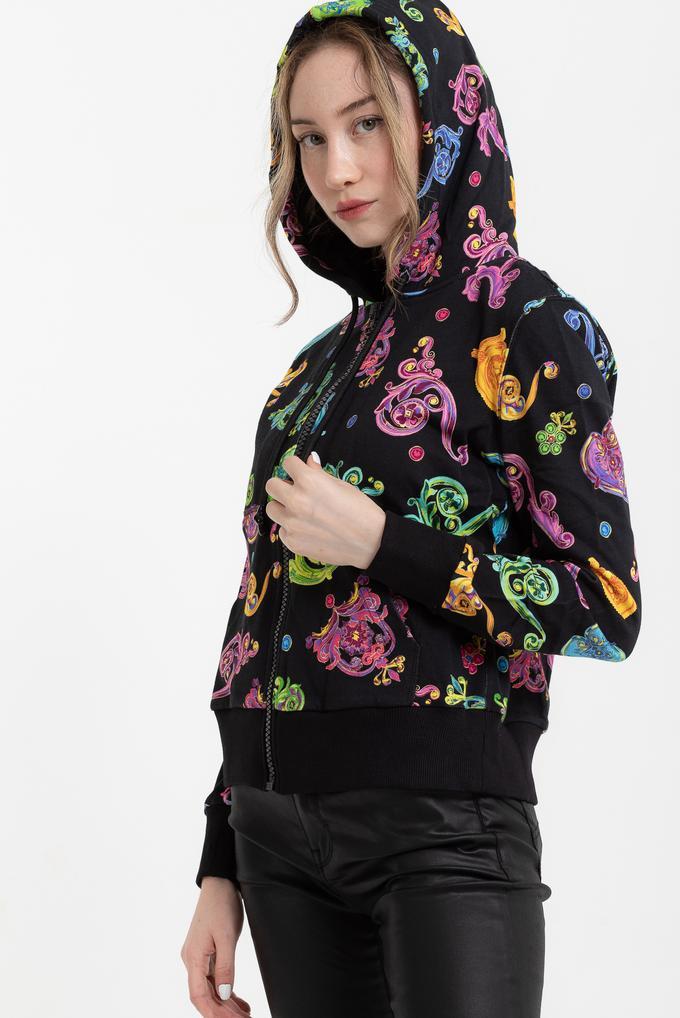 Versace Jeans Couture Fleece Print Gioielli Kapüşonlu Kadın Sweatshirt