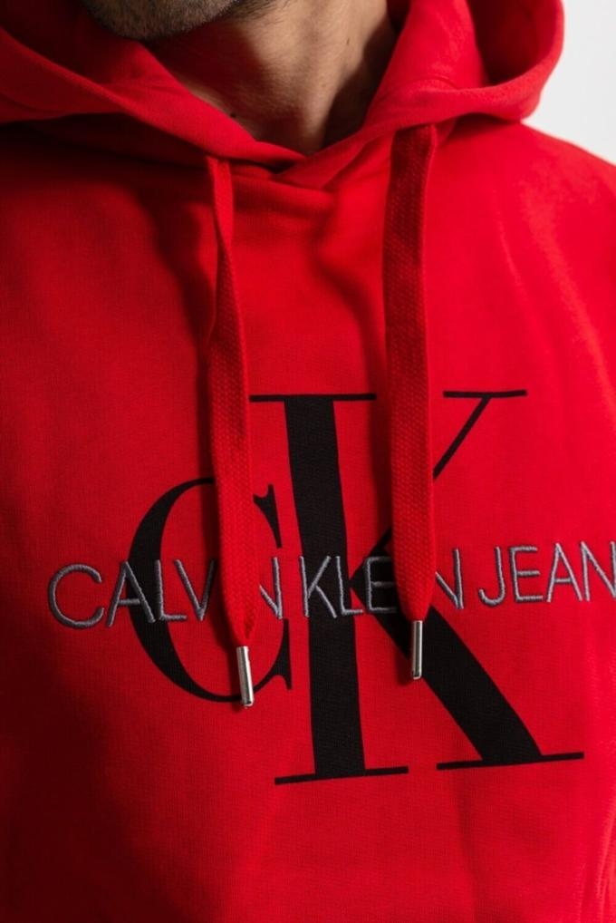 Calvin Klein %100 Pamuklu Monogram Logolu Kapüşonlu Erkek Sweatshirt
