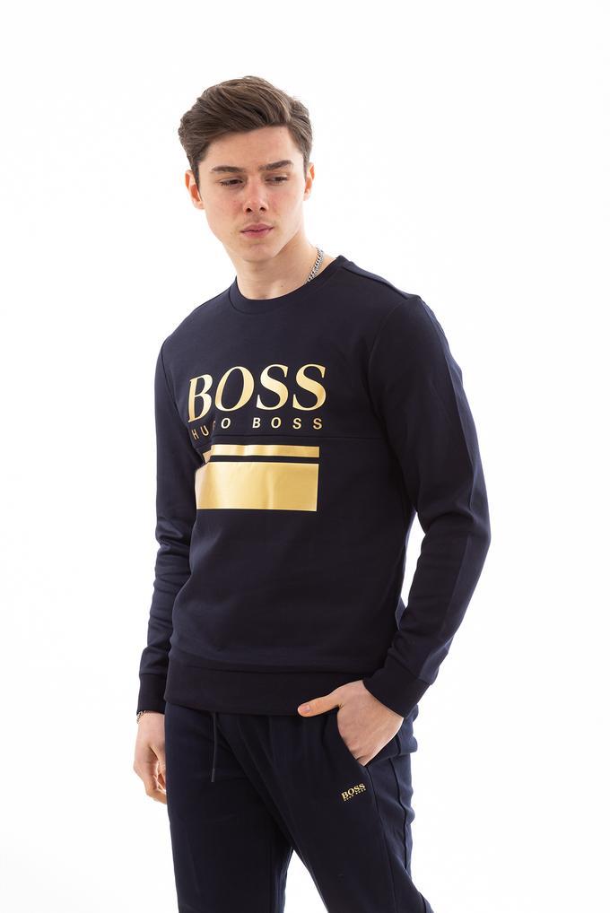 Hugo Boss Erkek Logo Baskılı Slim Fit Sweatshirt