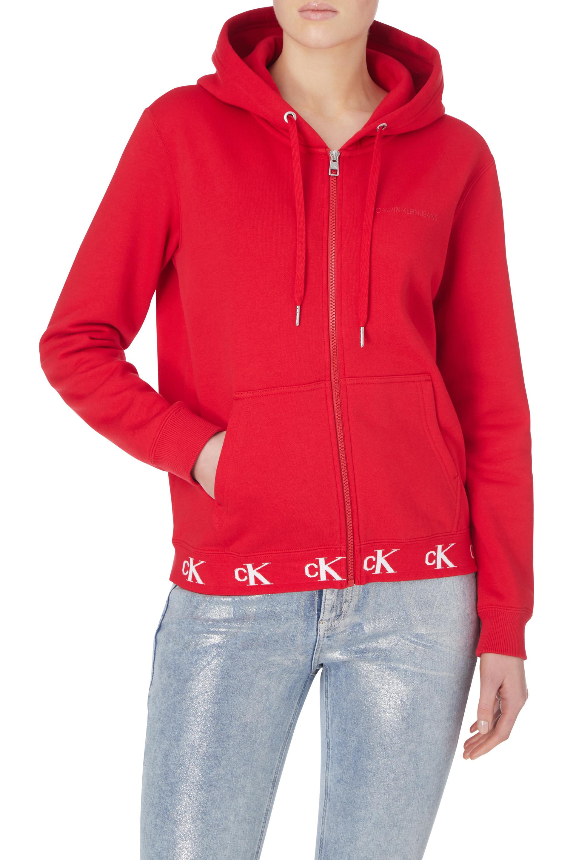 Calvin Klein Kadın Logo Trim Fermuarlı Hoodie Sweatshirt
