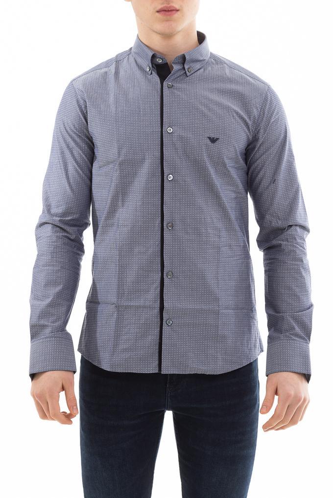 Emporio Armani Klasik Yaka Uzun Kollu İşleme Logolu Erkek Gömlek