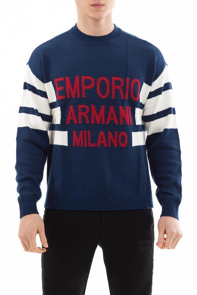 Emporio Armani Erkek Jakarlı Logolu Örgü Kazak