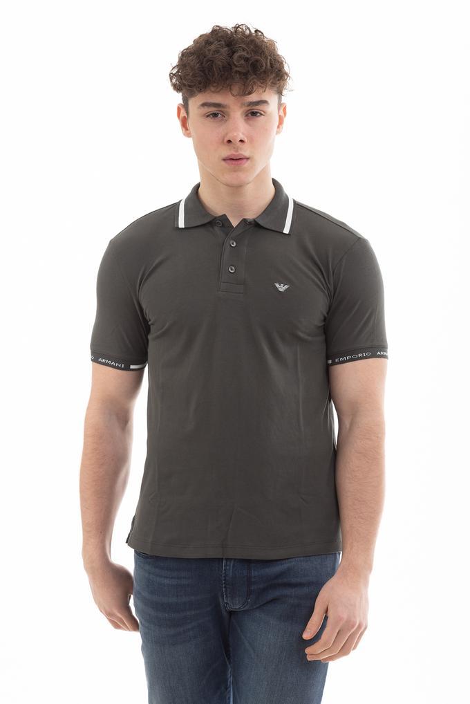 Emporio Armani Streç Pamuklu Logo İşlemeli Erkek Polo Yaka T-Shirt