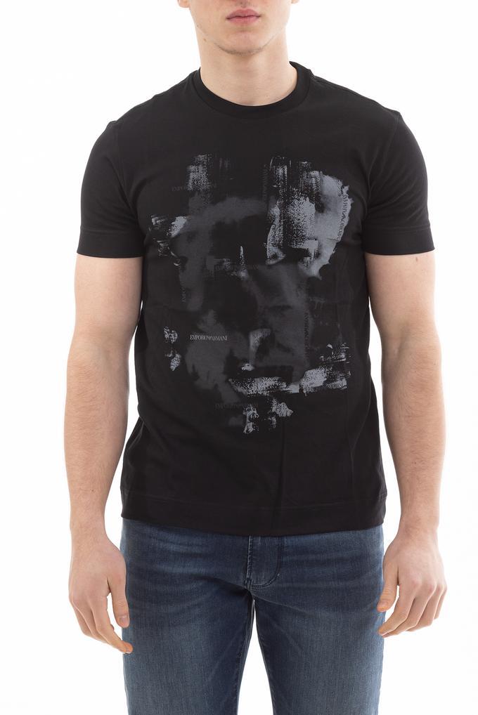 Emporio Armani Desen Detaylı Pamuklu Bisiklet Yaka Erkek T-Shirt