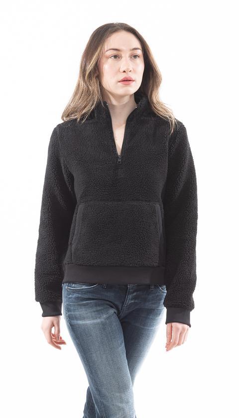Calvin Klein Kadın Sherpa Mock Fermuar Dik Yaka Sweatshirt