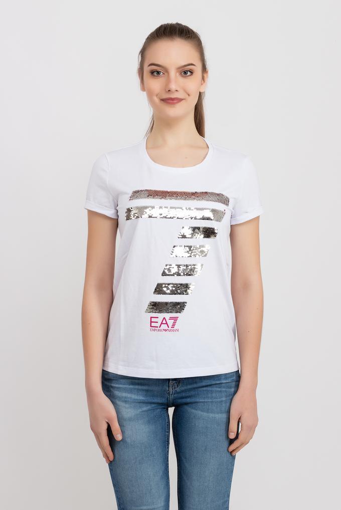EA7 Emporio Armani Payet Logo İşlemeli Kadın T-Shirt