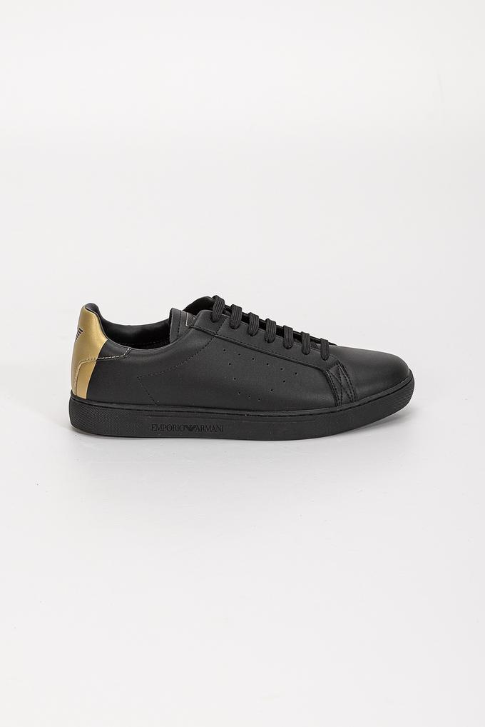 Emporio Armani Hakiki Deri Gold Print Erkek Sneaker